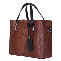 Чанта от естествена кожа Ella, кафява