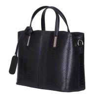Чанта от естествена кожа Ella, черна