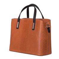 Чанта от естествена кожа Ella, оранжева