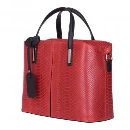 Чанта от естествена кожа Ella, червена
