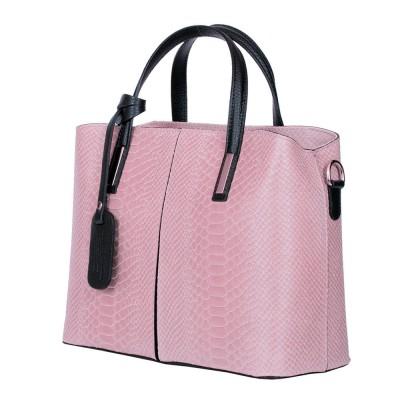 Чанта от естествена кожа Ella, розова