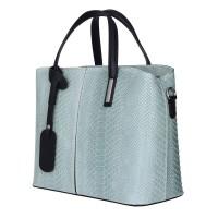 Чанта от естествена кожа Ella, светло зелена