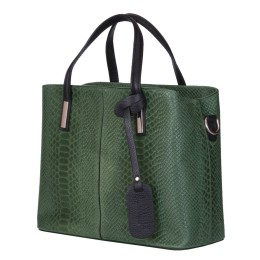 Чанта от естествена кожа Ella, зелена