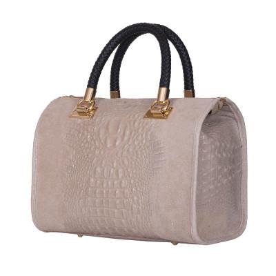Дамска чанта от естествена кожа Giovanna, бежова
