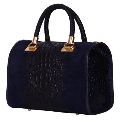 Дамска чанта от естествена кожа Giovanna, тъмносиня