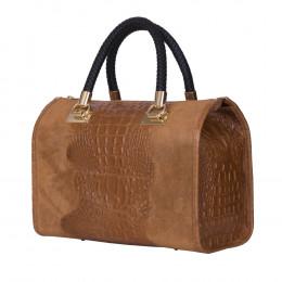 Дамска чанта от естествена кожа Giovanna, коняк