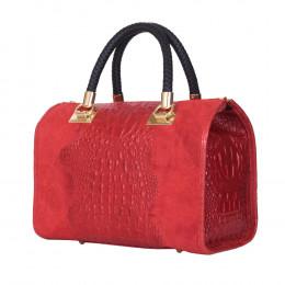 Дамска чанта от естествена кожа Giovanna, червена