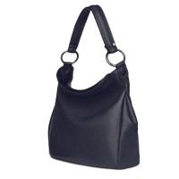 Дамска чанта от естествена кожа Jamila, тъмносиня