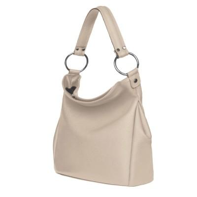 Дамска чанта от естествена кожа Jamila, светло бежова
