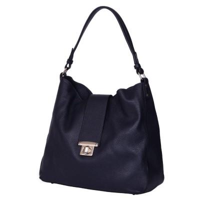 Чанта от естествена кожа Loredana, тъмносиня