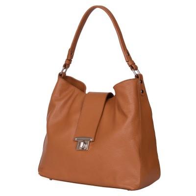 Чанта от естествена кожа Loredana, коняк