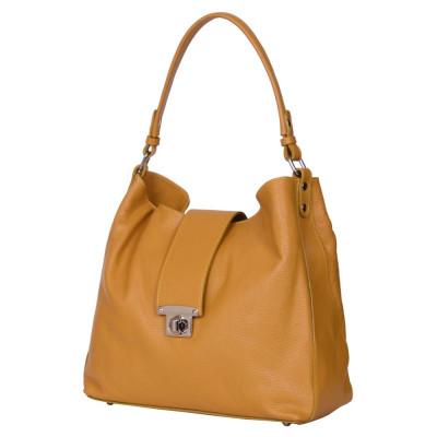 Чанта от естествена кожа Loredana, жълта