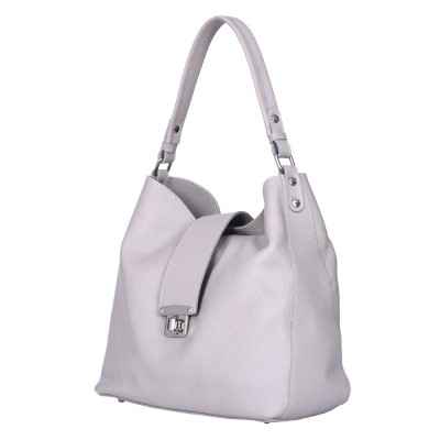 Чанта от естествена кожа Loredana, светлосива