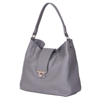 Чанта от естествена кожа Loredana, сива