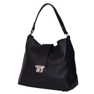 Чанта от естествена кожа Loredana, черна