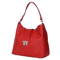 Чанта от естествена кожа Loredana, червена