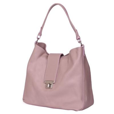 Чанта от естествена кожа Loredana, розова