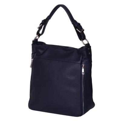 Дамска чанта от естествена кожа Lucia, тъмносиня