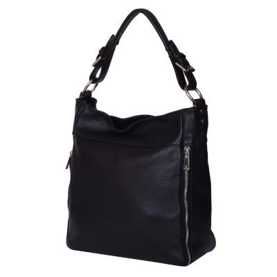 Дамска чанта от естествена кожа Lucia, черна