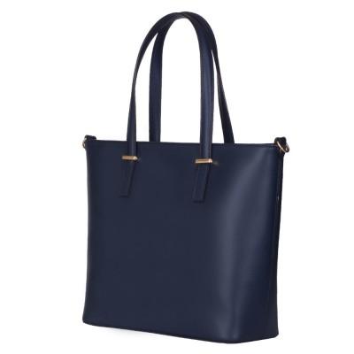 Чанта от естествена кожа Luisa, тъмносиня
