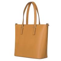 Чанта от естествена кожа Luisa, жълта