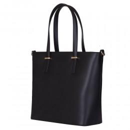Чанта от естествена кожа Luisa, черна