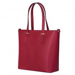 Чанта от естествена кожа Luisa, червена