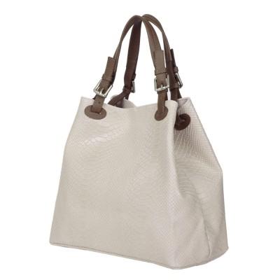 Дамска чанта от естествена кожа Natalie, светлосива