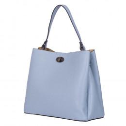Чанта от естествена кожа Riley, светлосиня