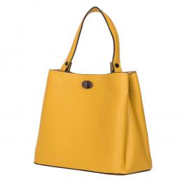 Чанта от естествена кожа Riley, жълта