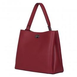 Чанта от естествена кожа Riley, тъмночервена