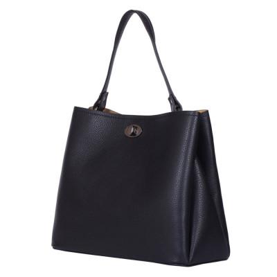 Чанта от естествена кожа Riley, черна