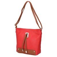 Чанта от естествена кожа Anita, червена