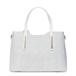Чанта от естествена кожа с флорални мотиви Samantha, бяла