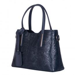 Чанта от естествена кожа с флорални мотиви Samantha, тъмносиня