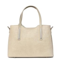 Чанта от естествена кожа с флорални мотиви Samantha, кремава