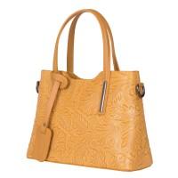 Чанта от естествена кожа с флорални мотиви Samantha, жълта