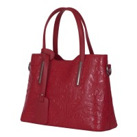 Чанта от естествена кожа с флорални мотиви Samantha, бордо