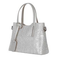 Чанта от естествена кожа с флорални мотиви Samantha, сива
