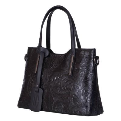 Чанта от естествена кожа с флорални мотиви Samantha, черна