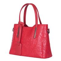 Чанта от естествена кожа с флорални мотиви Samantha, червена