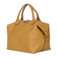 Дамска чанта от естествена кожа Viviana, жълта