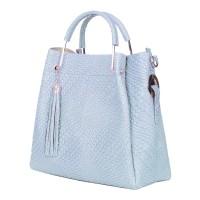 Дамска чанта от естествена кожа Olivia, светло синя
