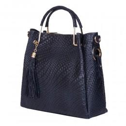 Дамска чанта от естествена кожа Olivia, тъмносиня
