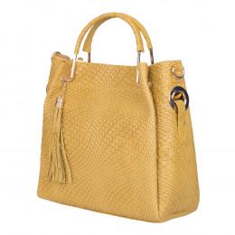 Дамска чанта от естествена кожа Olivia, жълта
