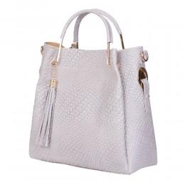 Дамска чанта от естествена кожа Olivia, сива