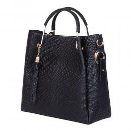 Дамска чанта от естествена кожа Olivia, черна