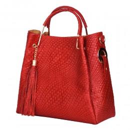 Дамска чанта от естествена кожа Olivia, червена