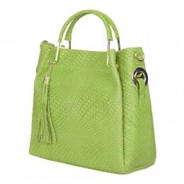 Дамска чанта от естествена кожа Olivia, зелена