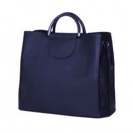 Кожена чанта с три отделения Carina, тъмносиня